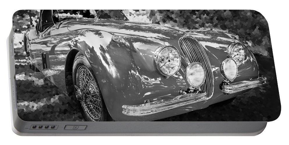 1954 Jaguar Portable Battery Charger featuring the photograph 1954 Jaguar Xk 120 Se Ots Bw by Rich Franco