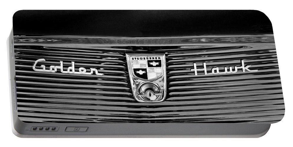 1956 Studebaker Golden Hawk Emblem Portable Battery Charger featuring the photograph 1956 Studebaker Golden Hawk Emblem by Jill Reger