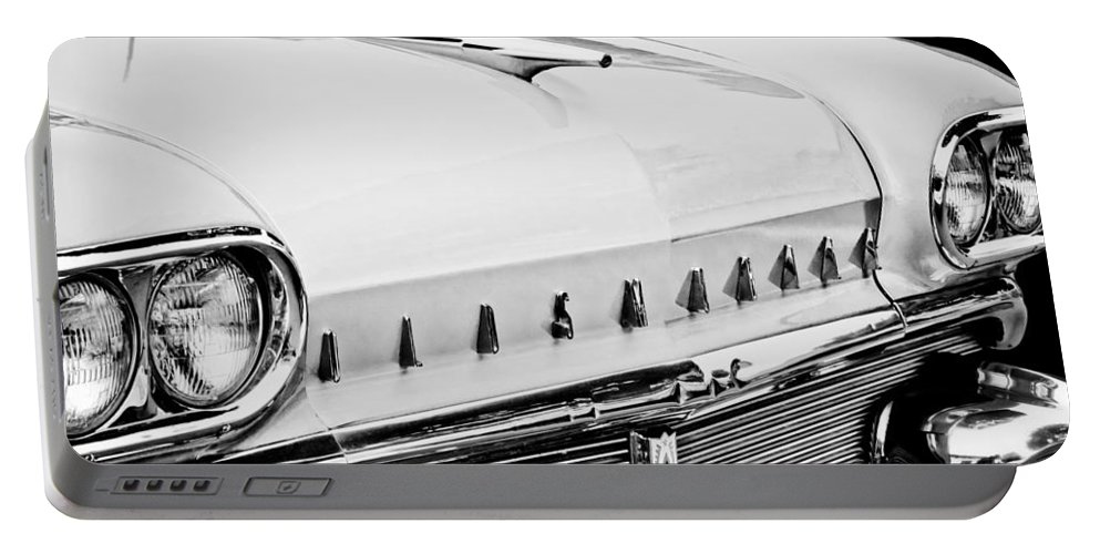 1958 Oldsmobile Super 88 Grille Emblems Portable Battery Charger featuring the photograph 1958 Oldsmobile Super 88 Grille Emblems - Hood Orament by Jill Reger