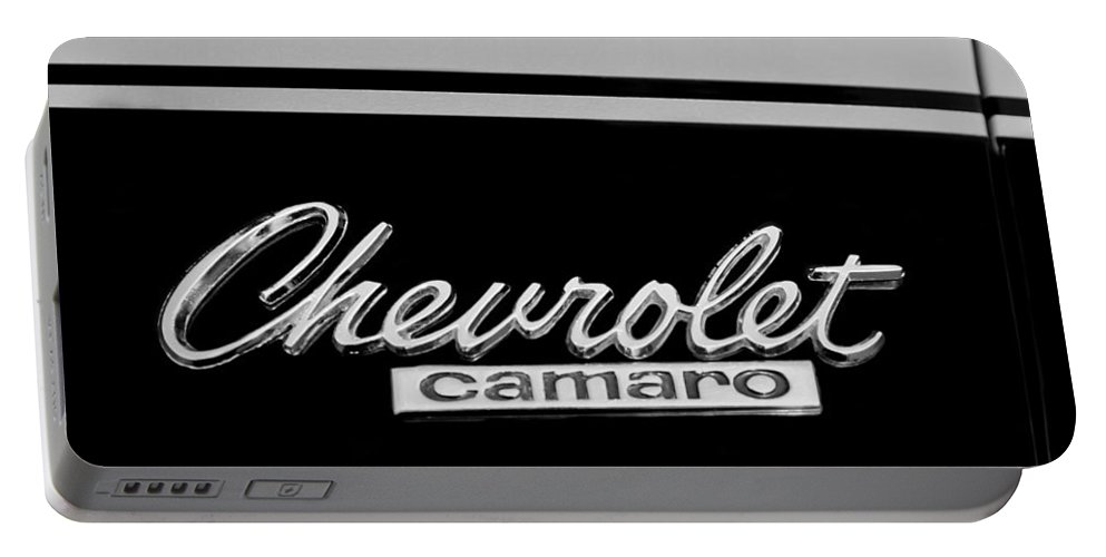 1967 Chevrolet Camaro Emblem Portable Battery Charger featuring the photograph 1967 Chevrolet Camaro Emblem by Jill Reger