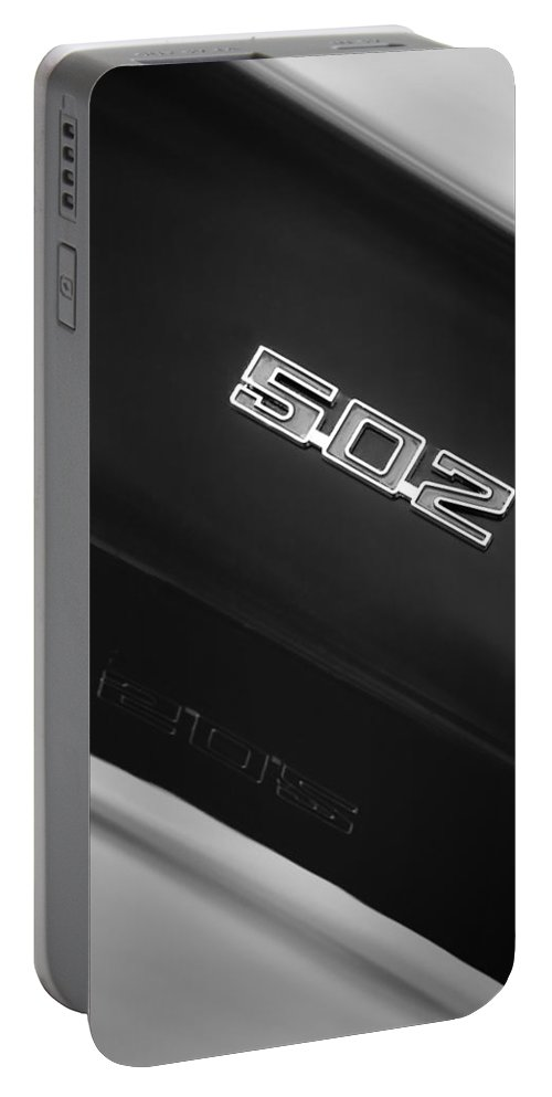 1970 Chevrolet Chevelle Ss 502 Emblem Portable Battery Charger featuring the photograph 1970 Chevrolet Chevelle Ss 502 Emblem by Jill Reger