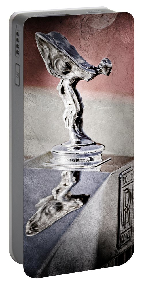 1976 Rolls Royce Silver Shadow Hood Ornament Portable Battery Charger featuring the photograph 1976 Rolls Royce Silver Shadow Hood Ornament by Jill Reger