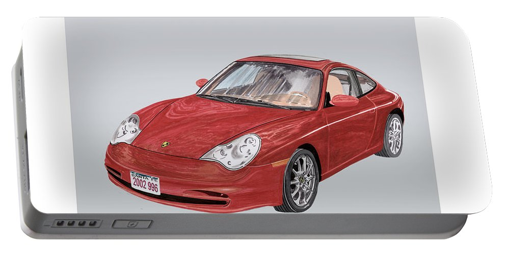 Ack's Watercolor Car Art Of A 2002 Porsche 996 Portable Battery Charger featuring the painting 2002 Porsche 996 by Jack Pumphrey