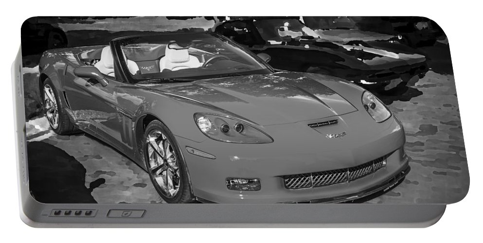 2010 Corvette Portable Battery Charger featuring the photograph 2010 Chevrolet Corvette Grand Sport Bw by Rich Franco