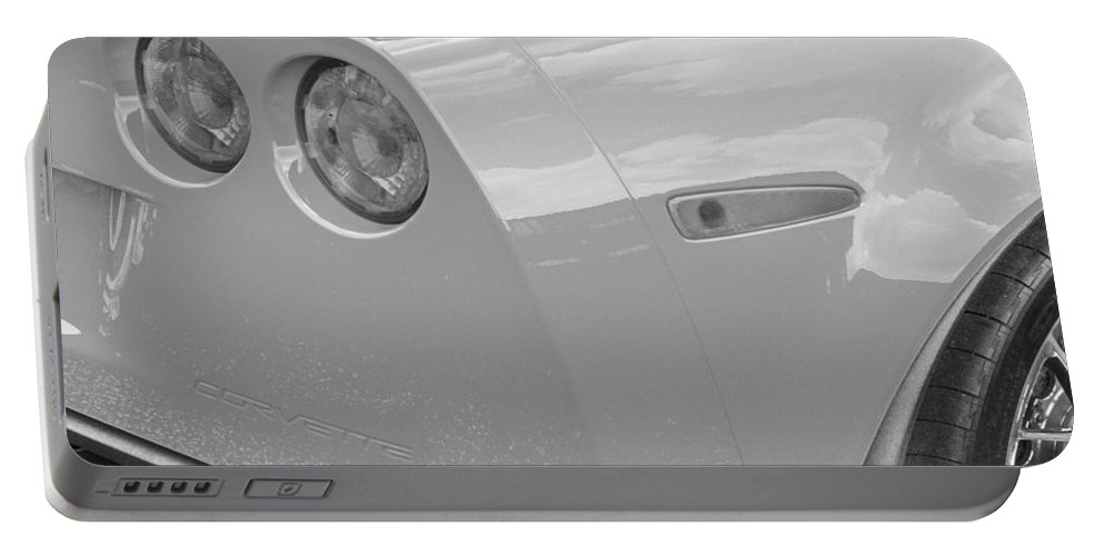2013 Corvette Portable Battery Charger featuring the photograph 2013 Chevy Corvette Zr1 Bw by Rich Franco