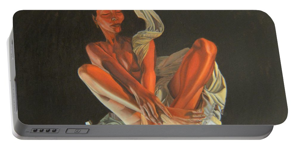 Semi-nude Portable Battery Charger featuring the painting 2 30 Am by Thu Nguyen