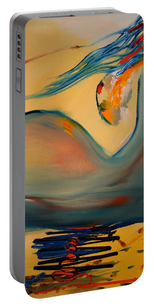 Expressionist Portable Battery Charger featuring the painting A Delicate Balance by Jack Diamond
