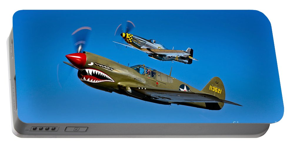 Horizontal Portable Battery Charger featuring the photograph A P-40e Warhawk And A P-51d Mustang by Scott Germain