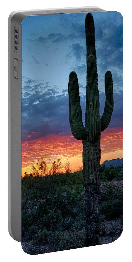 Sunset Portable Battery Charger featuring the photograph A Saguaro Sunset by Saija Lehtonen