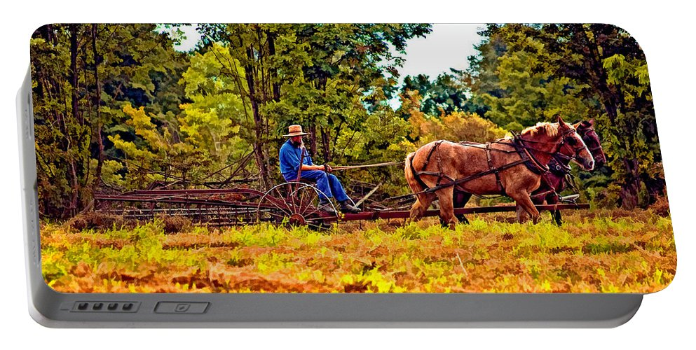 Farm Portable Battery Charger featuring the photograph A Simpler Time by Steve Harrington