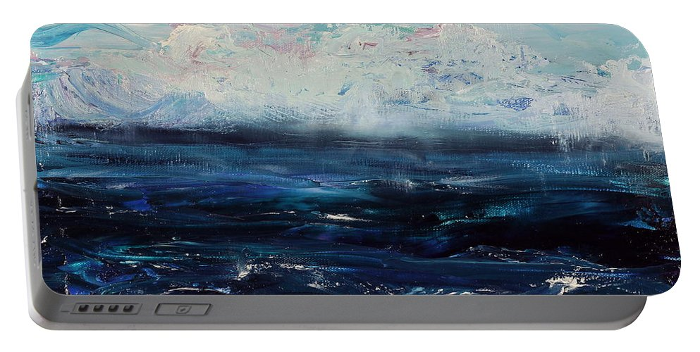 Storm Portable Battery Charger featuring the painting Ahead Of The Storm by Regina Valluzzi