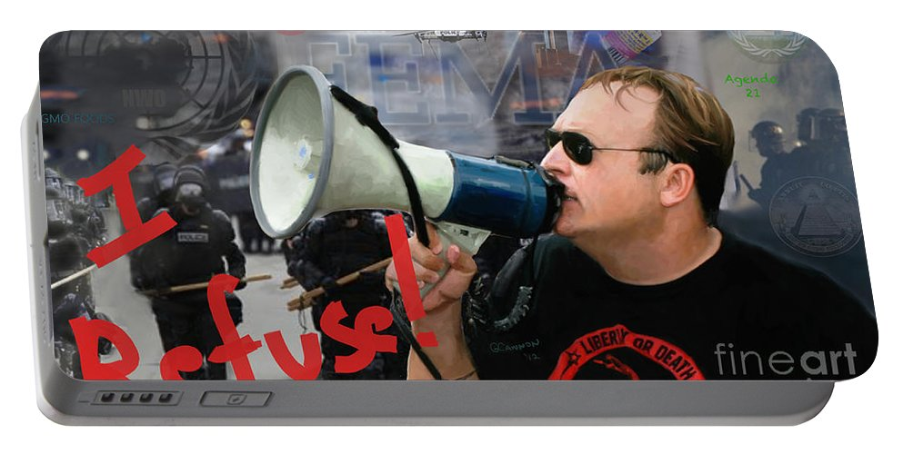 Alex Jones Portable Battery Charger featuring the painting Alex Jones I Refuse by G Cannon