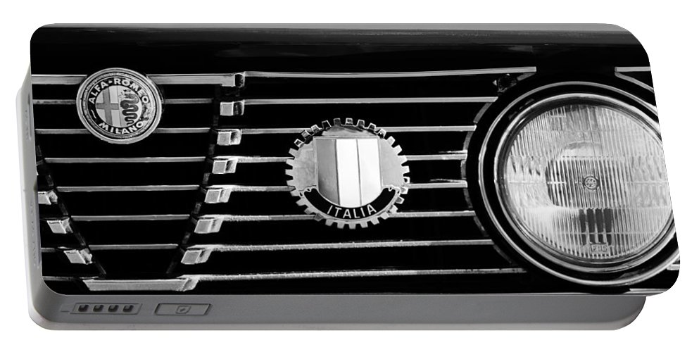 Alfa-romeo Grille Emblem Portable Battery Charger featuring the photograph Alfa-romeo Grille Emblem by Jill Reger
