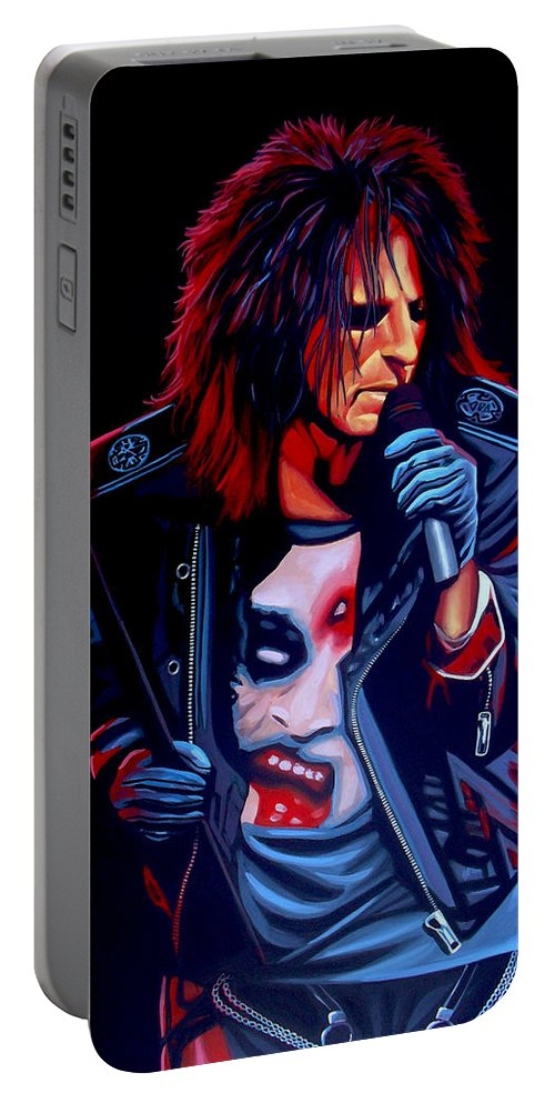 Alice Cooper Portable Battery Charger featuring the painting Alice Cooper by Paul Meijering