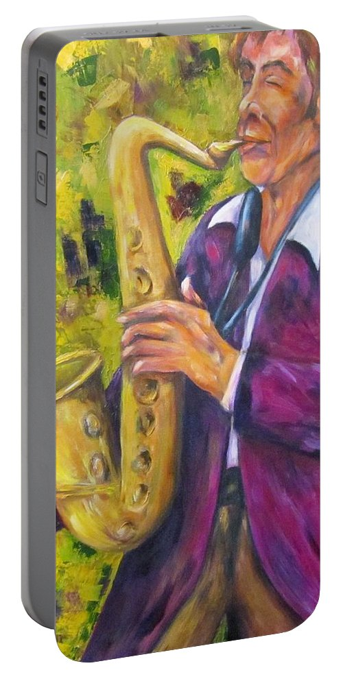 Saxophone Player Portable Battery Charger featuring the painting All That Jazz, Saxophone by Sandra Reeves