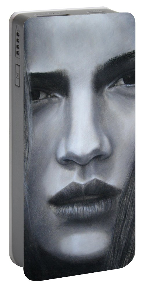 Alone Portable Battery Charger featuring the painting Alone by Lynet McDonald