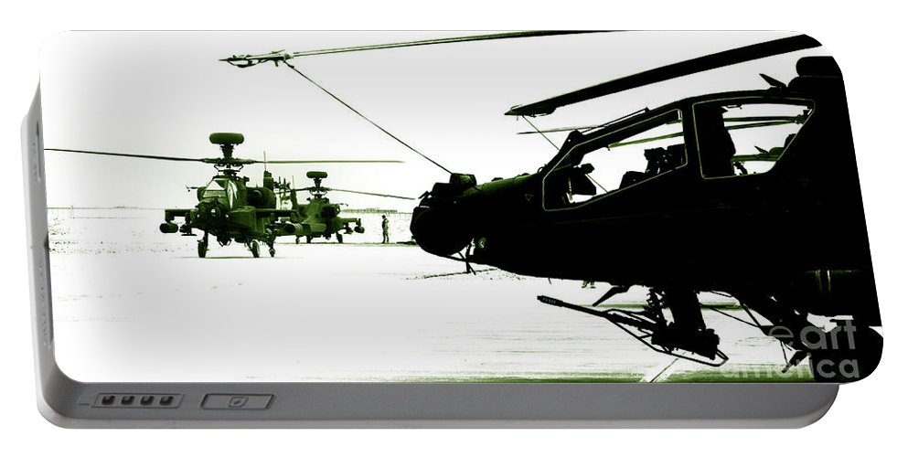 Afghanistan Portable Battery Charger featuring the photograph An Apache Ah64d Helicopter by Paul Fearn