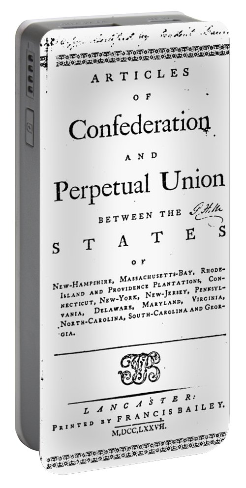 1777 Portable Battery Charger featuring the photograph Articles Of Confederation by Granger
