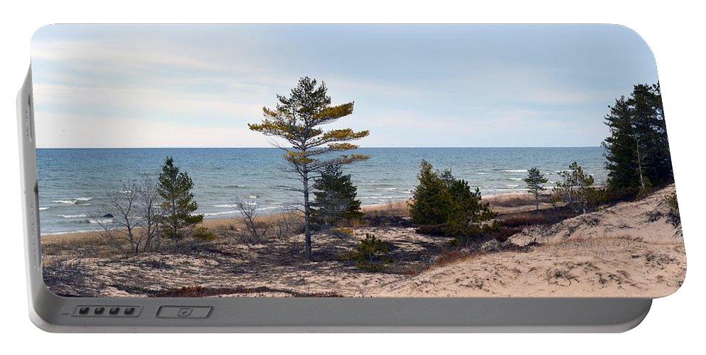 Lake Huron Portable Battery Charger featuring the photograph At The Beach by Linda Kerkau