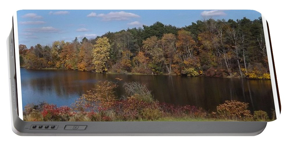 Lake Portable Battery Charger featuring the photograph Autumn Bliss by Sara Raber