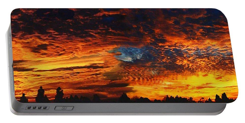Awe Inspiring Sunset Portable Battery Charger featuring the painting Awe Inspiring Sunset by Ellen Henneke