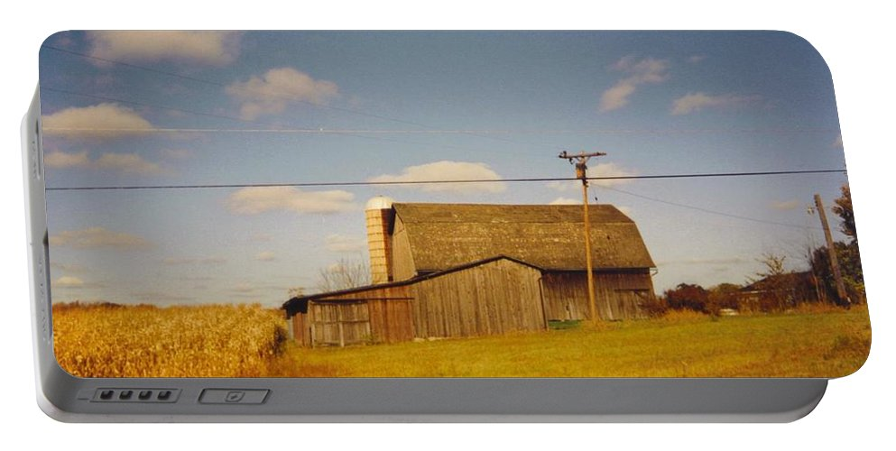 Weathered Barns In Michigan Portable Battery Charger featuring the photograph Barns by Robert Floyd