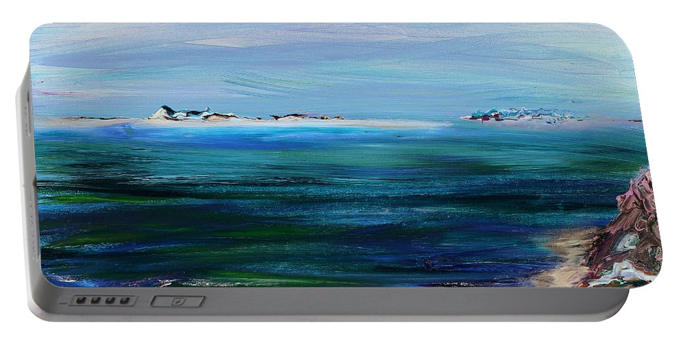 Barrier Islands Portable Battery Charger featuring the painting Barrier Islands by Regina Valluzzi