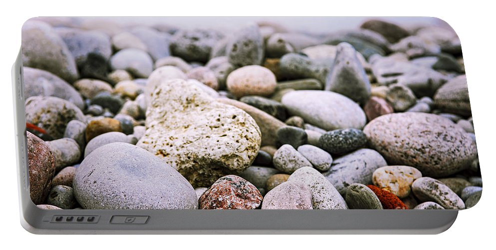 Rock Portable Battery Charger featuring the photograph Beach Pebbles by Elena Elisseeva