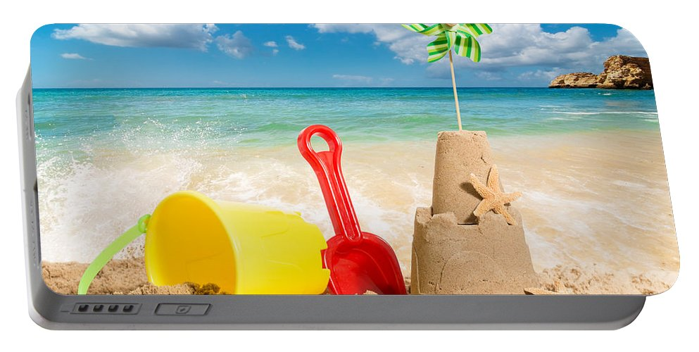 Sandcastle Portable Battery Charger featuring the photograph Beach Scene by Amanda Elwell