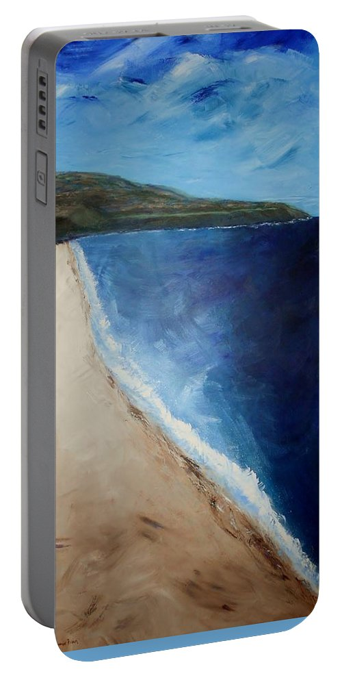 Seascape Portable Battery Charger featuring the painting Beautiful Palos Verdes by Jamie Frier