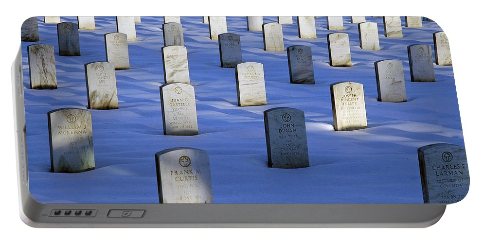 Arlington National Cemetery Portable Battery Charger featuring the photograph Beneath The Snow by Cora Wandel