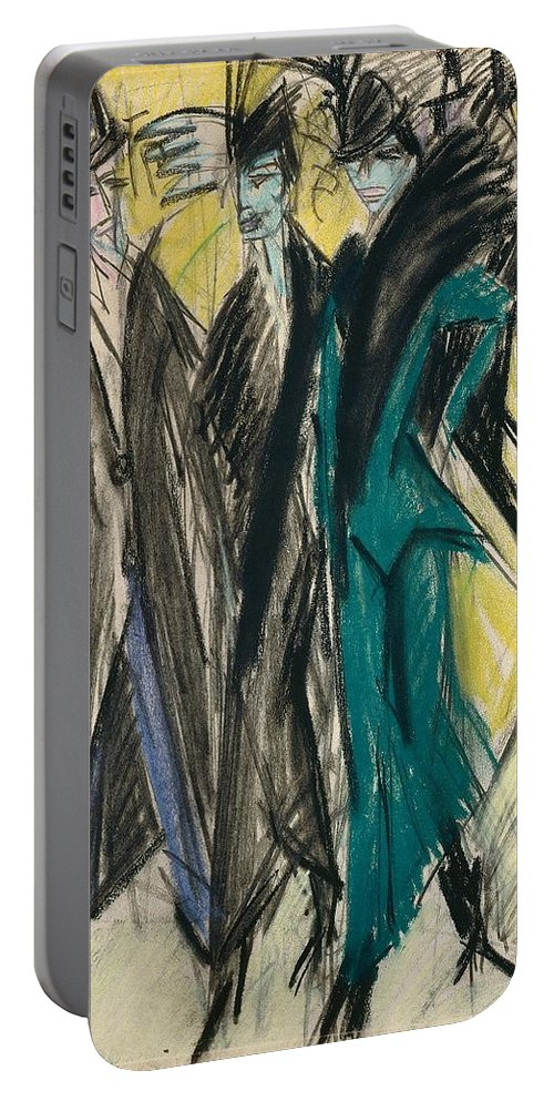1914 Portable Battery Charger featuring the painting Berlin Street Scene by Ernst Ludwig Kirchner
