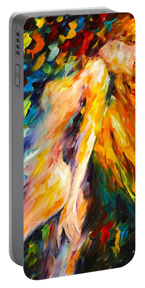 Woman Portable Battery Charger featuring the painting Bias by Leonid Afremov