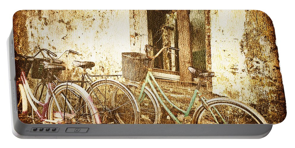 Abandoned Portable Battery Charger featuring the photograph Bikes And A Window by Skip Nall