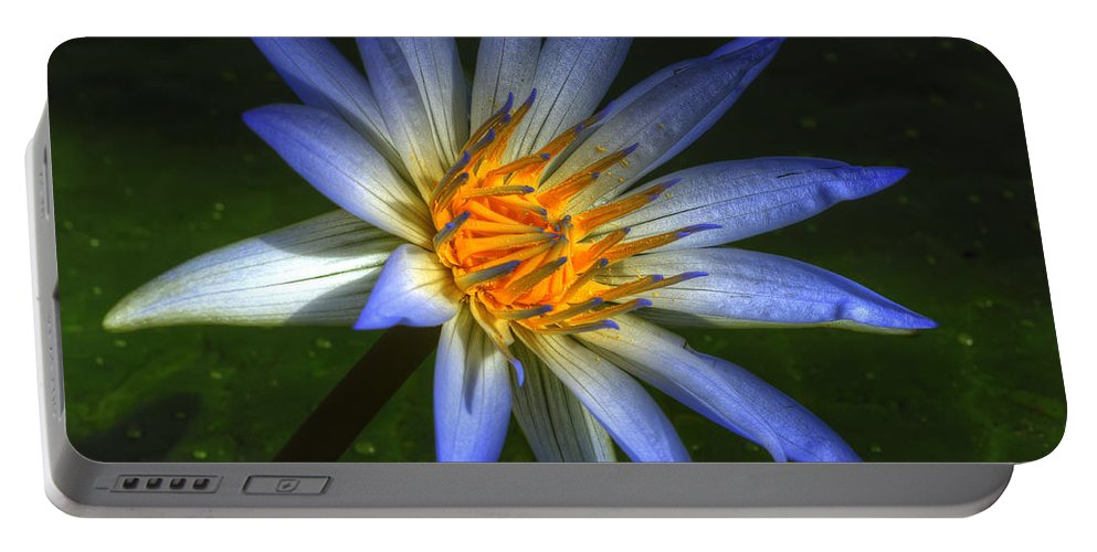 Lotus Portable Battery Charger featuring the photograph Blue Lotus by Wayne Sherriff