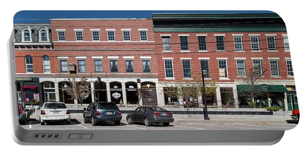 Photography Portable Battery Charger featuring the photograph Buildings Along A Street, Thomaston by Panoramic Images
