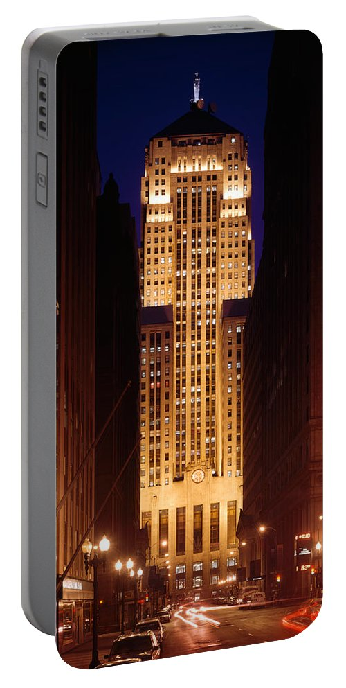 Photography Portable Battery Charger featuring the photograph Buildings Lit Up At Night, Chicago by Panoramic Images
