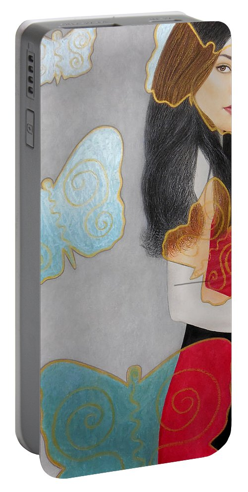 Butterflies Portable Battery Charger featuring the painting Butterflies by Lynet McDonald