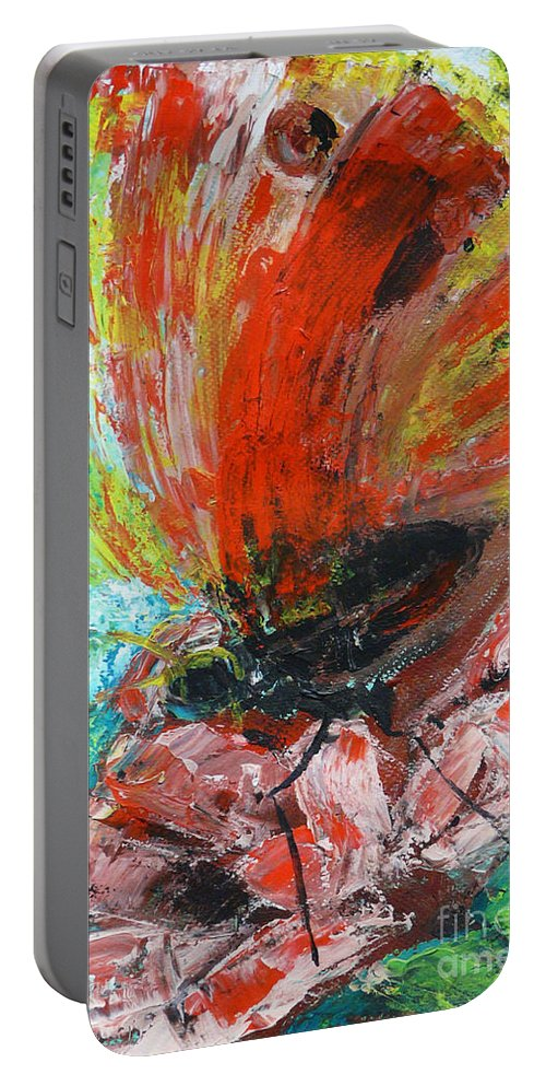 Butterfly Portable Battery Charger featuring the painting Butterfly And Flower by Jasna Dragun
