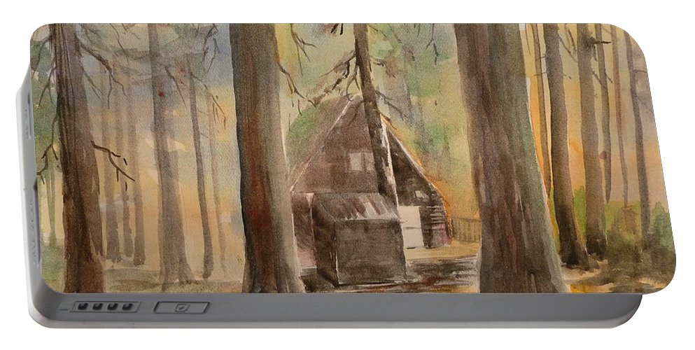 Landscape Portable Battery Charger featuring the painting Cabin In The Woods by Pusita Gibbs