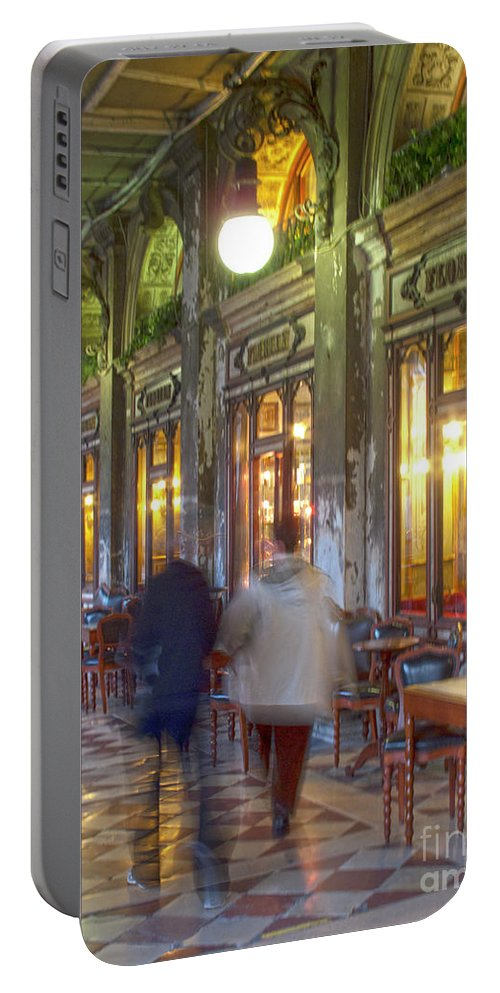 Venice Portable Battery Charger featuring the photograph Caffe Florian Arcade by Heiko Koehrer-Wagner