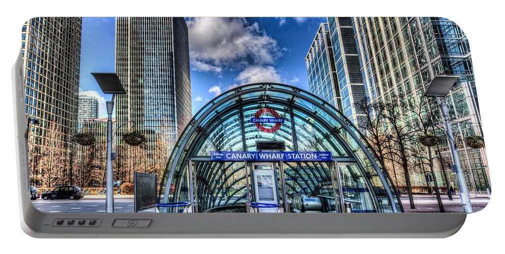 Canary Wharf Portable Battery Charger featuring the photograph Canary Wharf Station by David Pyatt
