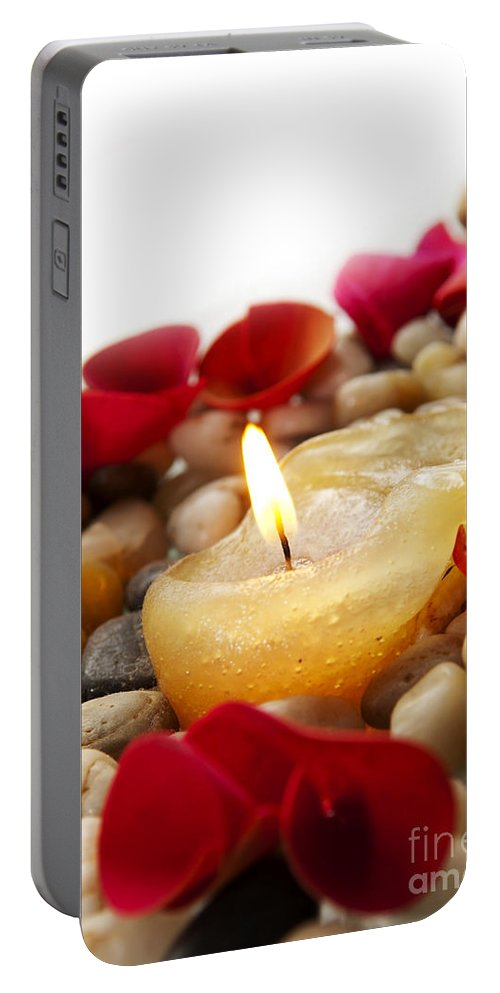 Anniversary Portable Battery Charger featuring the photograph Candle And Petals by Tim Hester