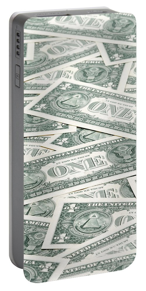 America Portable Battery Charger featuring the photograph Carpet Of One Dollar Bills by Lee Avison