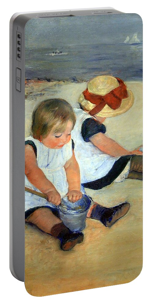 Children Playing On The Beach Portable Battery Charger featuring the photograph Cassatt's Children Playing On The Beach by Cora Wandel