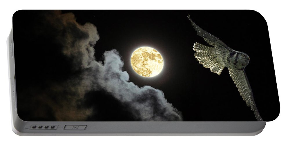 Hawk Owl Portable Battery Charger featuring the photograph Caught By The Moon by Rob Mclean