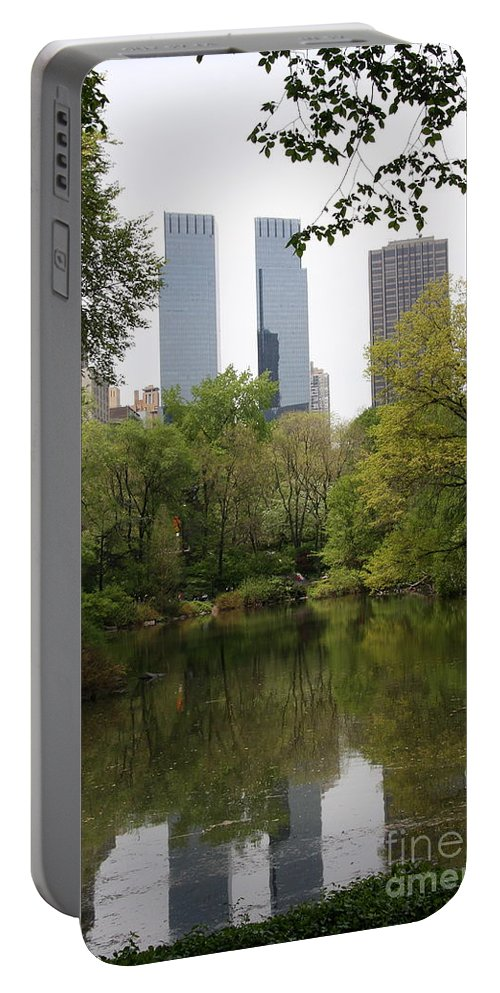 Central Park Portable Battery Charger featuring the photograph Central Park Pond by Christiane Schulze Art And Photography