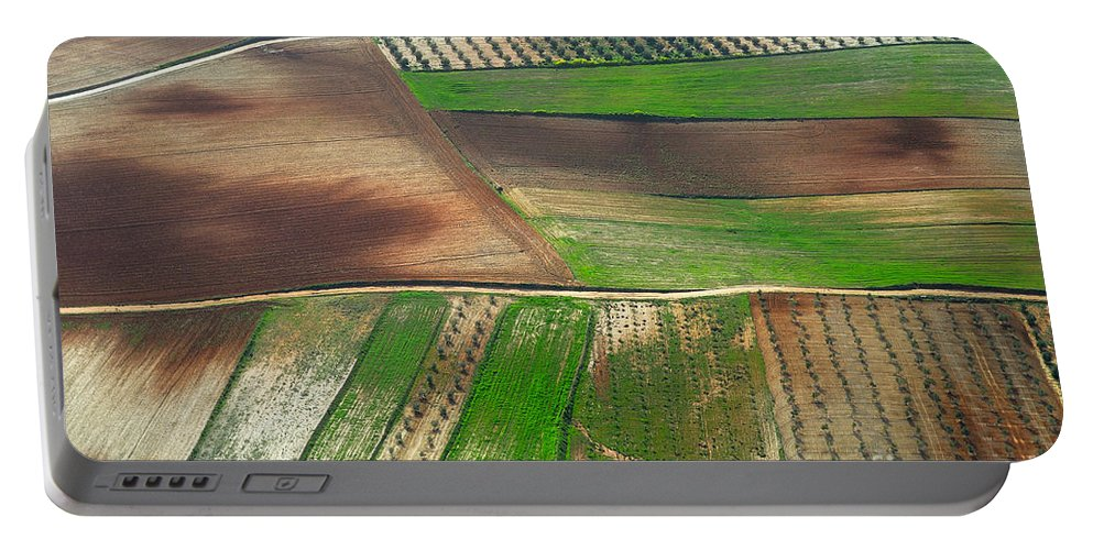 Aerial Photo Portable Battery Charger featuring the photograph Cereal Fields From The Air by Guido Montanes Castillo