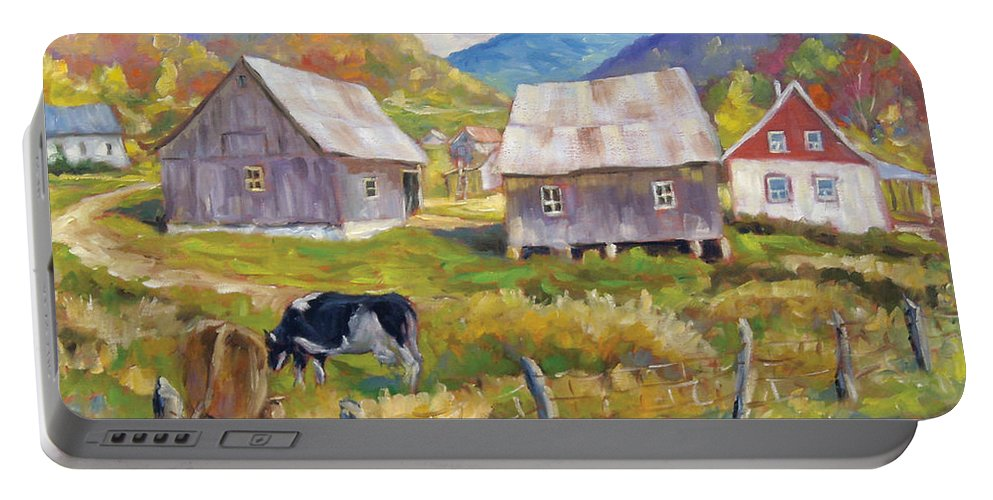 Art Portable Battery Charger featuring the painting Charlevoix North by Richard T Pranke