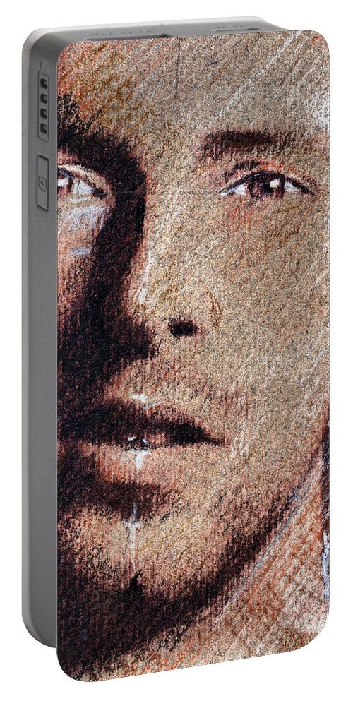 Chris Martin Portrait Portable Battery Charger featuring the drawing Chris Martin - Coldplay by Daliana Pacuraru